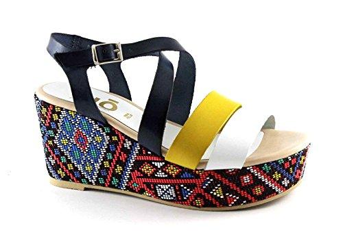 GRUNLAND DIVE SA1567 blu-multi sandali donna pelle zeppa cinturino Multicolore
