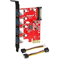 Inateck KTU3FR-4P - Tarjeta de 4 puertos USB (PCI Express) para  PC de escritorio, 15 conectores PIN de alimentación SATA, con cable de 4 pines para 2x15pin + Y-cable de 15 a 15 pines