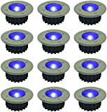 Woodside 12 x Blue Stainless Steel Solar Powered LED Deck Decking Lights