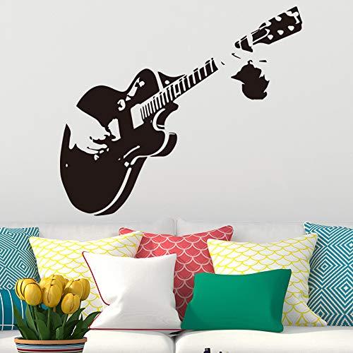 Kreative Kunst Gitarre Wandaufkleber Steuern Dekor Diy Musikinstrument Vinyl Wandaufkleber Steuern Dekor Wohnzimmer Schlafzimmer 86x98 cm