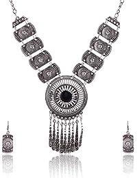 RAI COLLECTION Black Silver Strand Necklace Set For Women (RAI057)