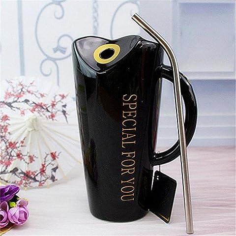 Keramikbecher Edelstahl Stroh ungiftig geschmacklos Isolierung einfach paar weiß / schwarz / rosa / rot 16,8 * 8,5 cm 400-500 ml JFDY , black