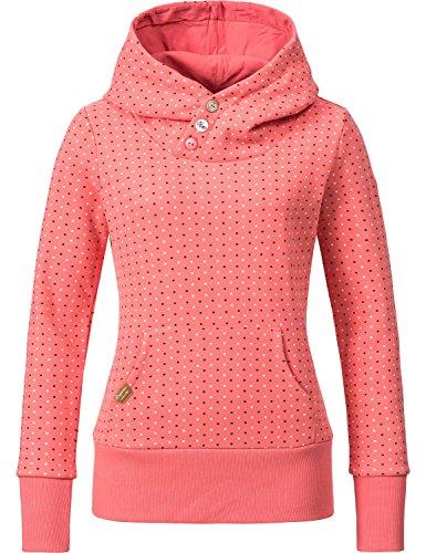 Ragwear Damen Sweatshirt Hoodie Chelsea (Vegan Hergestellt) Dots Coral Gr. L