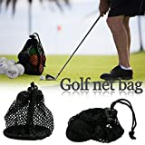 Durable nylon mesh net borsa da golf tennis Ball 12 – 15 palline Holder Storage coulisse chiusura borsa da trasporto con molla regolabile con fibbia, mesh Equipment bag, chiusura scorrevole cordino