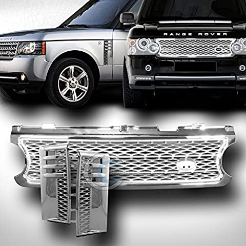 CHROME/SILVER MESH HOOD GRILL GRILLE+HONEYCOMB FENDER VENT 2006-2009 RANGE ROVER by Autobotusa