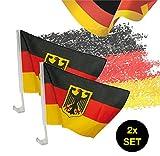 TK Gruppe Timo Klingler 2X Autofahnen Adler Autoflagge Deutschland Auto Autofahne Fahne Flagge Deutschland Fanartikel für Scheibe mit Halterung Fußball Weltmeisterschaft 2018 Russland
