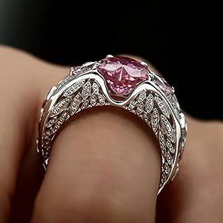 WSSB-Womens Fashion Exquisite Ring Silver Natural Ruby Gemstones Birthstone Bride Wedding Engagement Heart Ring PK