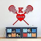 guijiumai Lacrosse Vinyl Wandaufkleber Personalisierte Benutzerdefinierte Name Entfernen Aufkleber Kinderzimmer Schlafzimmer Kindergarten Dekoration Poster Z 2 57x69 cm