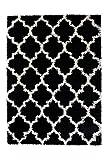 TAPISO SCANDINAVIA Teppich Shaggy Hochflor Langflor Marokko Netz Muster Schwarz Weiß Weich Flauschig Wohnzimmer Schlafzimmer ÖKOTEX 60 x 100 cm