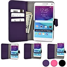 Funda Deslizable tipo Cartera Cooper Cases (TM) Slider para Smartphone de Gionee Elife E6 / E7 / S5.5, Gpad G1 / G2 / G3 en Morado (Acceso a cámara trasera; ranuras para tarjetas, bolsillo; cierre magnético)