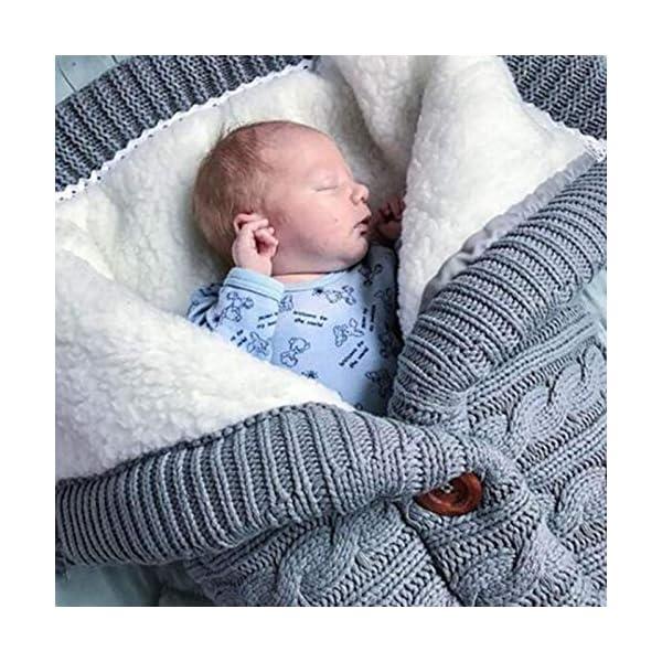 Bebé Botón Manta Crochet Tejido Invierno Cálido Envuelto Saco de Dormir – Beige
