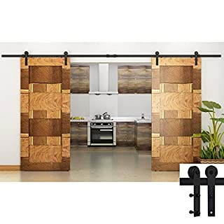 Hahaemall 10FT/120 Straight Design Black Country Barn Wood Steel Sliding Double Door Hardware Closet Set by Hahaemall