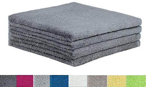 4er Pack Duschtücher zum Sparpreis! Größe 70x140cm 100% Baumwolle mit Aufhänger ÖKO-TEX geprüft verschiedene Farben (70 x 140 cm, Anthrazit grau)