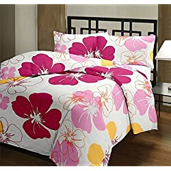 Renown Beautiful Pink Floral Design Reversible Double Bed Quilt / AC Blanket / Dohar ( Pack Of 1 Pc )