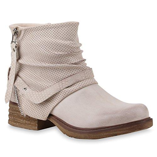 Damen Stiefeletten Zipper Biker Boots Leder-Optik Schnallen Knöchelhohe Stiefel Damen Schuhe 112102 Rosa 37 Flandell