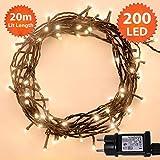 Weihnachts-Lichterketten 200 LED warme weiße Baum-Lichter Innen- und im Freiengebrauch Weihnachtsschnur-Lichter Gedächtnisfunktion, Netzbetriebene - Grünes Kabel