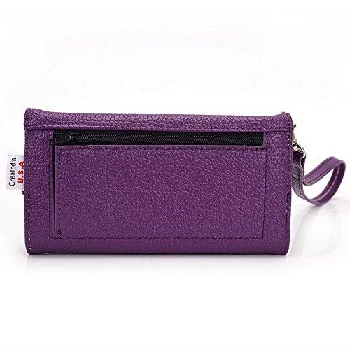 Kroo Pochette Téléphone universel Femme Portefeuille en cuir PU avec sangle poignet pour SHUKAN Q455/A125 Bleu - bleu Violet - violet