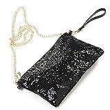 OULII Fashion Glitter Bag Handbag Party Evening Clutch Shoulder Bag for Women (Black)