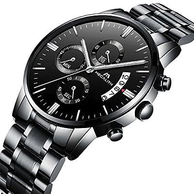 Relojes Hombre Acero Inoxidable Reloj de Pulsera de Lujo Moda Cronometro Impermeable Fecha Calendario Analogicos Cuarzo Relojes Militares Deportivo Marea Negocio Casual con Grande Dial Negro