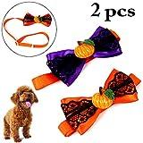 Legendog 2 Stück Halloween Hundehalsband Hundefliege Spitzen Kürbis Justierbarer Haustier Kragen