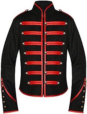 Hombres de la única gótico rojo Steampunk negro desfile Militar Marching Band Drummer chaqueta fangbanger Punk...