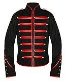 Giacca da uomo in stile gotico, steampunk, punk, emo, in rosso e nero, parata militare, parata musicale, batterista Black and Red Large