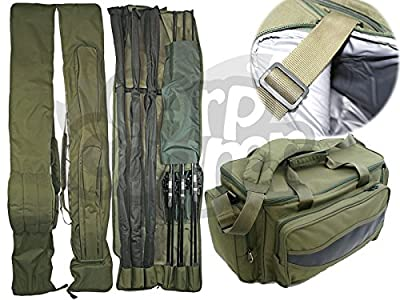 NGT Carp Fishing Set Green Insulated Carryall 3+3 Made Up Rod & Reels Holdall from NGT