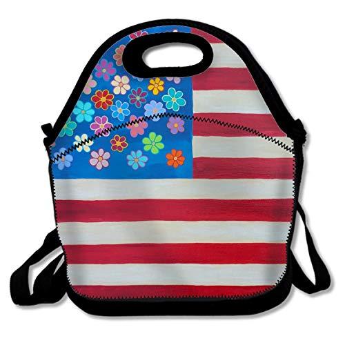 American Folk-flag (Mexican Folk Art American Flag Insulated Large Neoprene Lunch Bag for Women, Men & Kids)