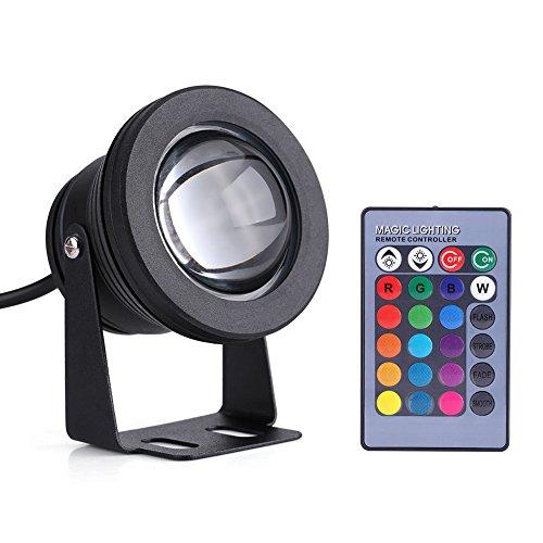 Qiilu 10W 12V RGB LED per Subacqueo Luce Barca a Vela Marina Spot IP68 Impermeabile Lampada Acquario Stagno(Black)