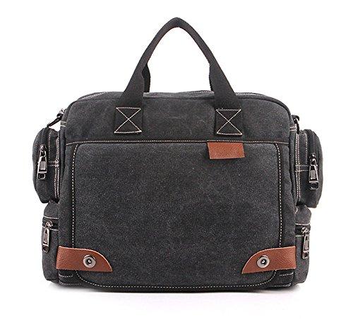 Tonwhar Classic Bags Messenger Bag Laptop-Schultertasche Schwarz - Schwarz
