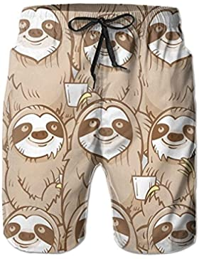 Funny Caps Sloth Drink Coffee Men's/Boys Casual Swim Trunks Short Elastic Waist Beach Pants with Pockets