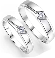 Bold N Elegant Classy Silver Plated Zircon Lovers Couple Rings Wedding Engagement Rings Adjustable Love Bands for Couples