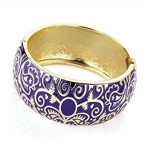 Ladies Stylish Latest Fashion Gold Colour Purple Epoxy Hinge Bangle Brand New