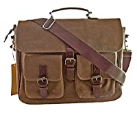 Hard-Wearing Casual Canvas Messenger Shoulder Bag Cross Body Bag Briefcase/Multi-Pocketed Chic Backpack For Men/Perfect For Weekend Travel/100% Money Back Guarantee/Brown