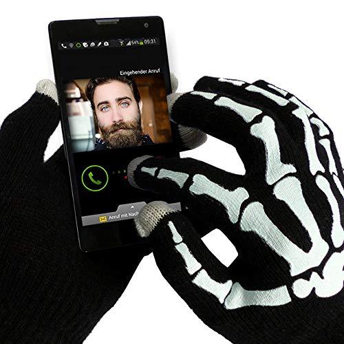 Handy Touchscreen Touch Handschuhe Damen / Herren, Universal für alle Smartphones u. Tablets, Schwarz mit Druck, Einheitsgröße
