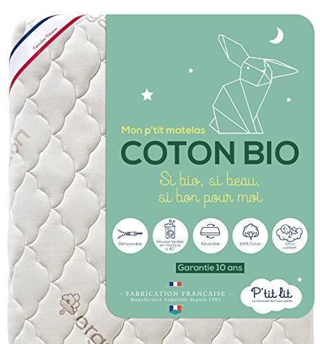 P'TIT LIT - Matelas Bébé Coton Bio - 70x140 cm - 100% Coton : matière Naturelle d'origine Végétale - sans Traitement Chimique - Déhoussable - Oeko Tex® - Fabrication Française