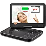 "DR.J 5 Hours 10.5"" Swivel Screen Portable DVD Player With Built-in Rechargeable Battery And USB/SD Card Reader"