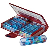 MAGNIEN Medidose Classic Weekly Pills - Assortiment de couleur (Rouge/Bleu / Gris)