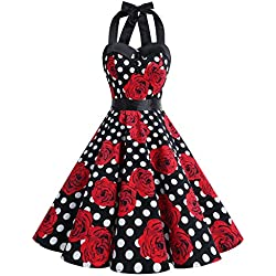 Dressystar corto cuello Halter estampado flores y lunares vintage retro fiesta 50s 60s rockabilly