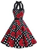 Dressystar DS1957 Robe de Bal Polka Vintage pin-up à 'Audrey Hepburn' 50's 60's Rockabilly Halter,Dos Nu, Noir à Pois Blanc et Fleur XXL