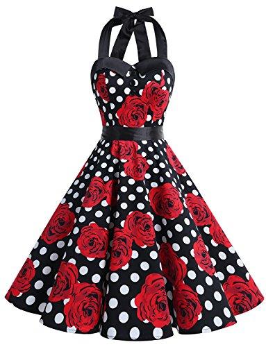 Dressystar DS1957 Vintage Tupfen Retro Cocktail Abschlussball Kleider 50er 60er Rockabilly Neckholder Schwarz Weiß Rose XS (Rose Kleid)