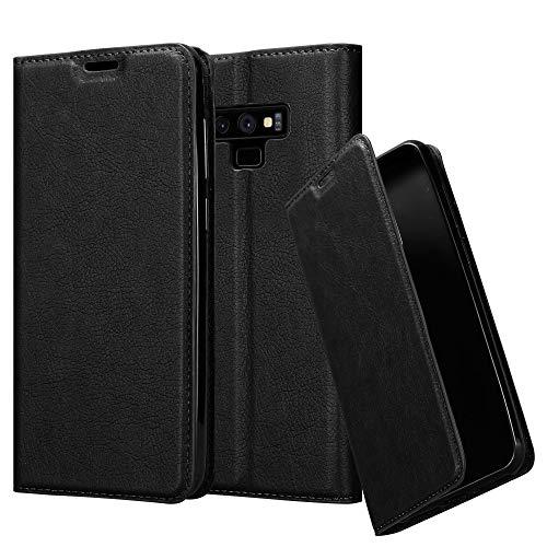 Cadorabo Hülle für Samsung Galaxy Note 9 - Hülle in Nacht SCHWARZ - Handyhülle mit Magnetverschluss, Standfunktion & Kartenfach - Case Cover Schutzhülle Etui Tasche Book Klapp Style