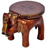 Little India Designer Wooden Elephant Stool Handicraft  (17.78 cm x 12.7 cm x 24.13 cm,HCF304)