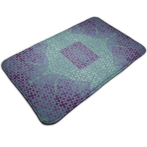 Bikofhd Teal On Purple Kitchen Carpet Rug Door Mat Rug for Bathroom Outdoor Porch Laundry Living (19.5