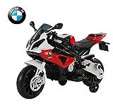 HOMCOM Moto Véhicule Electrique pour Enfant BMW 12V 2 Moteurs 2.5-5KM/H avec Phares Klaxon PP Rouge et Noir