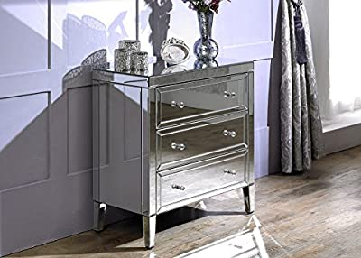 Happy Beds Valencia Mirrored 3 Drawer Chest Storage Unit Cabinet Furniture - inexpensive UK light store.