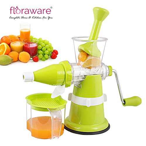Floraware Modern Fruit & Vegetable Juicer with Steel Handle, Green
