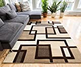 Uptown Squares Ivory & Brown Modern Geometric Comfy Casual Hand Carved Area Rug 120 x 160 cm Easy to Clean Stain Resistant Abstract Boxes Contemporary Thick Soft Plush Living Dining Room