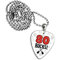 80 Rocas edad cumpleaños Logo collar de púa de guitarra ...