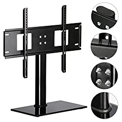 "Monumart Universal Tv Base Table Pedestal Bracket Lcdled Tv 28"" - 40"" Black Toughened Glass For Flat-screen Tv Stand"